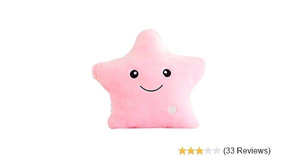 Colorful LED Stuffed Dolls Glowing Stars Plush Cushion Pillows Light Up Toy Gift