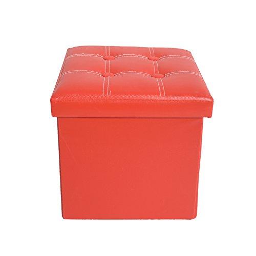 Mobili Rebecca® Taburete Baúl Color Rojo de Almacenamiento Plegable