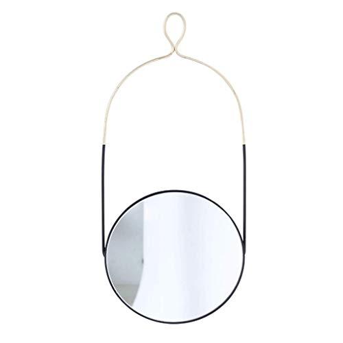CAOYU Badezimmerspiegel Rustikaler schicker Wandspiegel mit Lanyard | stilvolle schwimmende runde Glasscheibe