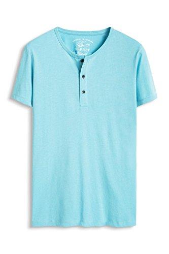 ESPRIT Herren T-Shirt 996ee2k902 - Henley - Regular Fit Blau (TURQUOISE 470)