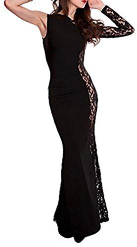 Kleid Lange Abendkleid mit Spitze Semi Transparent – Einheitsgröße 36/40  Schwarz