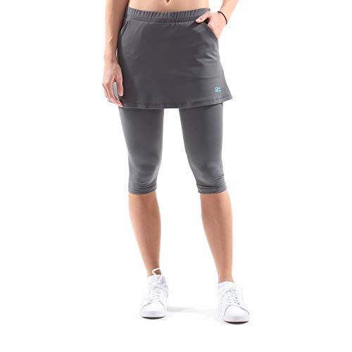 SPORTKIND Mädchen & Damen Tennis, Hockey, Running 2-in-1 Rock mit Leggings, grau, Gr. M