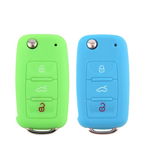 E-Mandala 2 Stück VW Schlüssel Hülle 3-Tasten Silikon Tasche Etui Schutzhülle für Volkswagen VW Golf 7 6 5 4 Caddy Lupo Polo Passat SkodaFabia Bora Autoschlüssel Schlüssel Zubehör - Grünes Blau