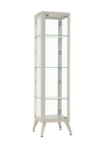 Furniture 247 Hohe Glasvitrine mit Metallrahmen (mit 3 Glasablagen) - Weiß -