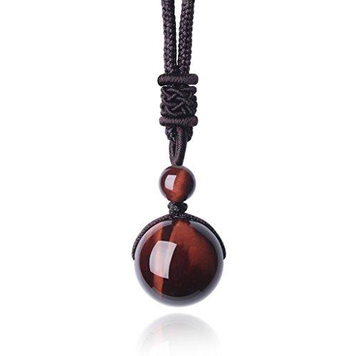 COAI Unisex Edelstein Rotes Tigerauge Perle Anhänger Glückskette Verstellbare Halskette