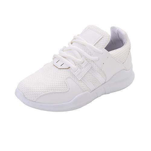 CUTUDE Damen Sneakers Frühling Sommer Laufschuhe Flach Atmungsaktiv Leichte Stoßfest Freizeitschuhe Schnürer Straßenlaufschuhe (Weiß, 37 EU) -