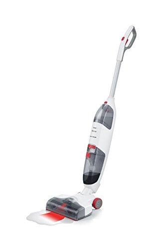 Severin sc 7148, lavasciuga per pavimenti duri, batteria agli ioni di  litio da 22,2v, include spazzole speciali, hygenius free li 30, bianco/rosso/grigio