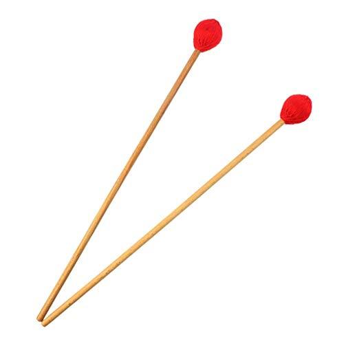Lystaii 1 Paar Marimba Mallets mittelhartes Garn Kopf Tastatur Marimba Mallets mit Ahorngriffen rot