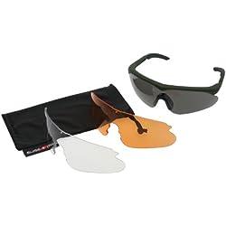SWISS EYE Raptor - Gafas, (marco y tres gafas intercambiables, tratamiento para evitar el empañado y las rayas), marco color verde