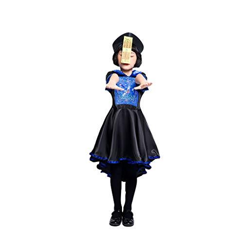 Kostüm Children's Übergröße - 1-1 Rave Halloween Cosplay Eltern-Kind-Klage Zum Erwachsene Frauen Mutter Kind Mädchen Chinese Qing-Dynastie Weiblicher Geist Kostüm-Kleid,Black-Child(125~135cm)