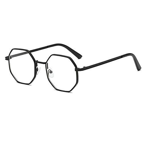 Y-PLAND Brille polygonale Brille Rahmen dicken Seite klassischen Brillengestell retro Mode flachen Spiegel, schwarzer Rahmen