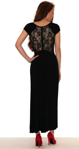 SODACODA® Langes stilvolles Abendkleid mit Spitzen und Blumenmuster an der Seite und Rückseite Schwarz