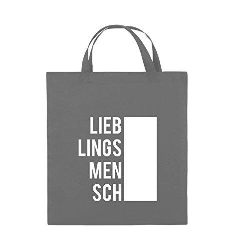 Comedy Bags - LIEBLINGSMENSCH - BLOCK - Jutebeutel - kurze Henkel - 38x42cm - Farbe: Schwarz / Pink Dunkelgrau / Weiss
