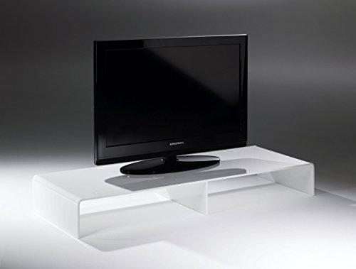 HOWE-Deko Console TV/TV-Rack en Acrylique Haute qualité, Blanc, 120 x 40 cm, H 15 cm, l'épaisseur de l'acrylique 8 mm