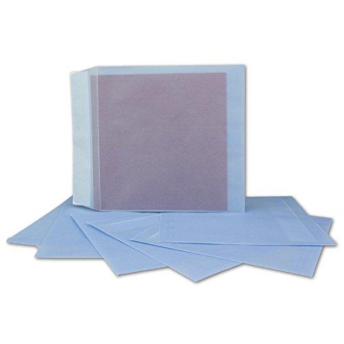 25 Quadratische Briefumschläge transparent in Pastell-Blau Farbig   160 x 160 mm   Premium 100 g/qm   Transparent-Hüllen mit Abziehstreifen   bunte Umschläge für Einladungen & Hochzeiten