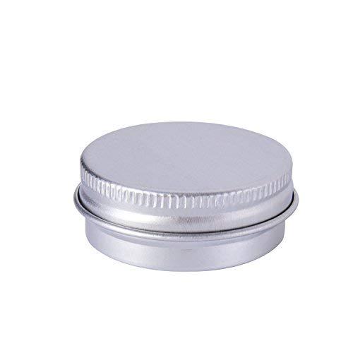 Lvcky 15ml Aluminium Schraube Dose Balsam Töpfen Kosmetik Make up Jar Rund Creme Behältern, 10Stück, Silber