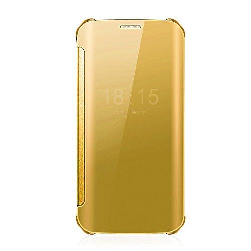 Caryycy lusso elegante glitter smart flip ultra slim view electroplated specchio rigida trasparente per custodia per samsung galaxy s6 edge plus, oro