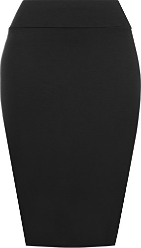 Womens Plain Bodycon Pencil High Waisted Ladies Stretch Midi Skirt - Black - 12/14