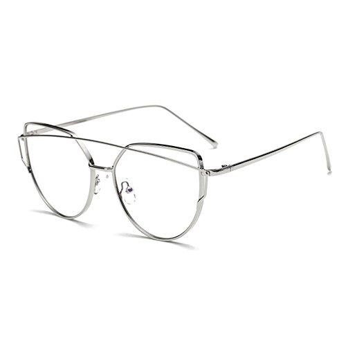 Hibote Männer Frauen Anti Blau Licht Gläser - Metall Rahmen Katze Auge Brillen Clear Lens Gläser Rahmen