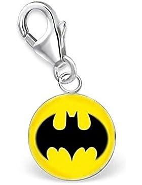 GH1a Batman Charm Anhänger 925 Sterling Silber Mädchen Kinder Geschenkidee