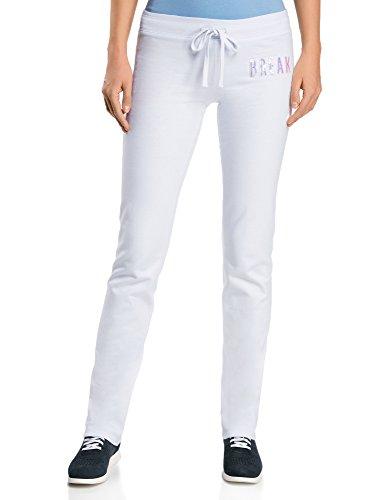 oodji Ultra Damen Jersey-Hose mit Bindebändern, Weiß, DE 38 / EU 40 / M (Damen Hosen Weiße)