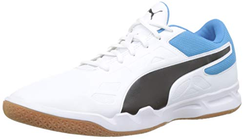 Puma Tenaz Indoor Teamsport Schuhe White-Black-Bleu Azur-Gum 7