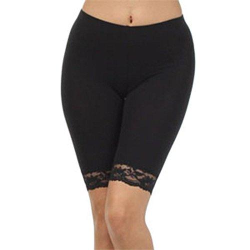Damen Baumwoll-Lycra-Stretch (ref: 2195 geschnürt) trimmen oberhalb des Knies Radhose aktiv Legging mit Spitze (große(Large), Schwarz(Black)) (Cotton-shorts-tanzen)