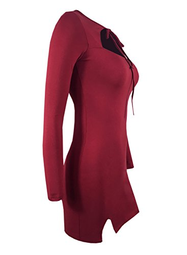 Futurino women's Tie Round Neck Long Sleeve Cut Out Front Party Sexy Dress Wine Red