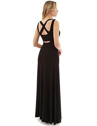 PattyBoutik Damen Criss-Cross-Schlüsselloch zurück Maxi Kleid (schwarz 44/L) Back Tank Dress