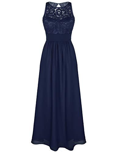 iEFiEL Damen Kleid festlich Hochzeit Brautjungfernkleider Cocktailkleid Chiffon Faltenrock Elegant Langes Abendkleid Partykleid (38 (Herstellergröße:6), Z Marineblau)
