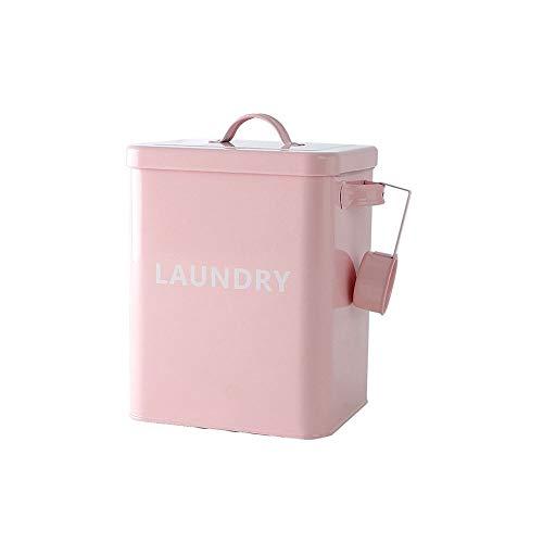 Baffect Wäscheservice Pulver Box, Metallwaschpulver Container Verschlossene Box mit Löffel 3kg Wäsche Waschpulver Metall Aufbewahrungsbox Container und Scoop (Pink) -