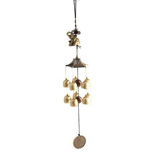 Dealmux en métal Home Decor cadeaux de Noël Elephant Bells Perles en cuivre Cash Pendentif à suspendre Windbell Bronze Tone