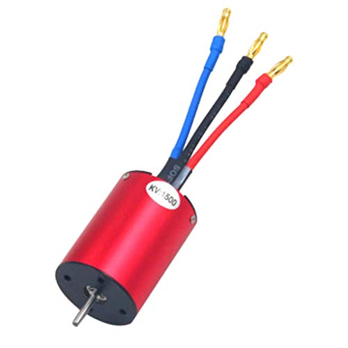 er Motor,3650 1500KV 2-4S 4 Poles Interne Wende Wasserdicht Sensorless Brushless Motor für 1:10 RC Car Buggy Boot (Rot) ()