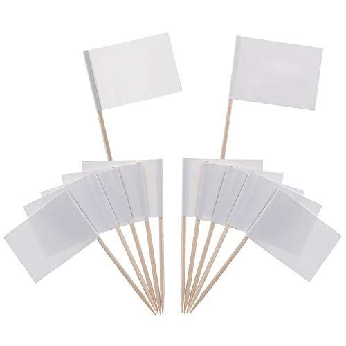 100 Pcs Blank Zahnstocher Flags, Dinner Cocktail Flags Käse Marker, Weiße Flags Kennzeichnung für Party Cake Food