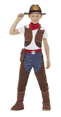 Smiffys Costume Cowboy felpato, marrone, con top, pantaloni e cravattino