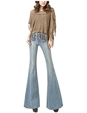 SYGoodBUY Pantalones Largos Maxi de Las Mujeres con los Pantalones de la Pierna del Elefante Jeans Cintura Alta...
