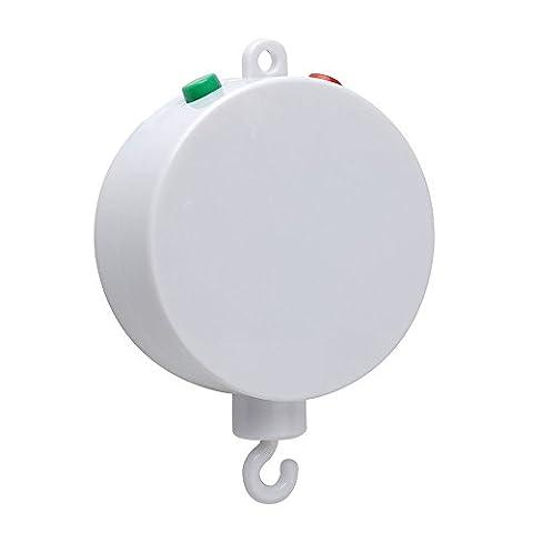 Ecandy Baby-Musik-Mobile Box, Batterie die DDC Baby-Bettwäsche-Musik-Mobile Spielt 35 Tunes ohne Arm (Weiß)