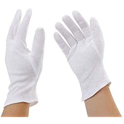 Incutex 2 paires de gants de tissu en coton, blancs, taille M