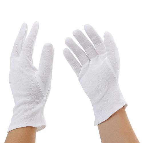 Incutex 12 Paar Baumwollhandschuhe Handschuhe Baumwolle Trikot Handschuhe Cotton Gloves feuchtigkeitsspendende Handschuhe, Größe M, weiß