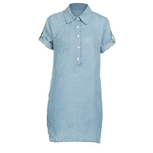 rbe Kurze Ärmel T Shirt Dress Sommer Mode Komfortable Freizeitkleider Strandkleid Burlesque Kostüm(Blau,XL) ()