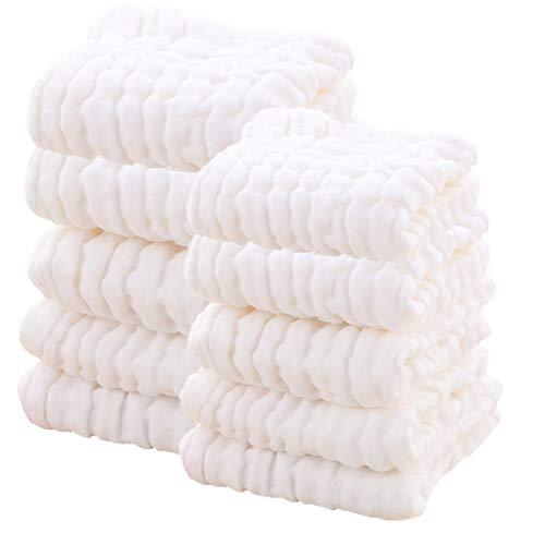 Salviettine baby muslin - salviettine per neonati in cotone mussola leepem baby - asciugamano morbido per neonato per pelli sensibili, 10 pacchi da 11,8 x11,8 pollici (bianco puro)