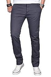 A. Salvarini Herren Designer Chino Stretch Stoff Hose Chinohose Regular Slim mit Elasthananteil AS024 [AS-024-Anthrazit-W34 L30]