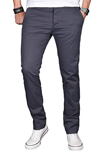 A. Salvarini Herren Designer Chino Stretch Stoff Hose Chinohose Regular Slim mit Elasthananteil AS024 [AS-024-Anthrazit-W33 L32] Slim Fit Chino