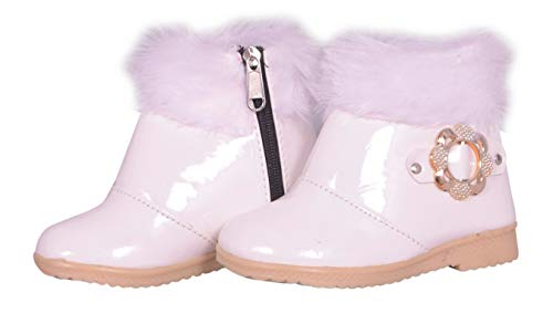 Fashion shoes Baby Girl's White Leather Long Shoes -12-18 Months