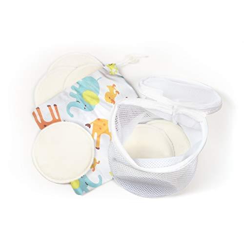 AVADA: Bambus Stilleinlagen Waschbar (8 Stück | 4 Lagen | Soft | Weiß) Bio Inkl. Wäschenetz und Tragebeutel aus Stoff