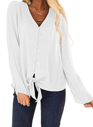 Bobopai Womens Casual V Neck Blouse Short Long Sleeve Button up Tunic Tops -