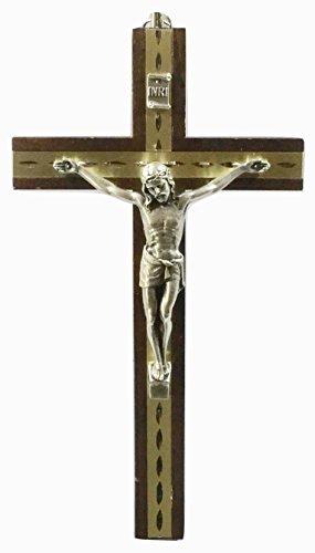 Biblegifts Kruzifix 20,3 cm Dunkles Holz Metalleinlage Corpus Christi Wandbehang Jesus-Kreuz, ideal für Nonnen, Mönche, Pastoren, Vikars oder Minister.