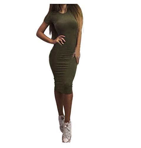 Allegorly Damen Elegant Etuikleider festliches Cocktail Bleistiftkleid Knielang Business Kleider Sexy Mode Einfarbig Kurzarm Slim Fit Bodycon Midikleid