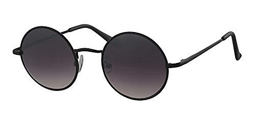 Eyewear World Runde Sonnenbrille, Federscharniere, kostenlose gelbe Kordel mit schwarzem Rahmen, Schwarze Gläser
