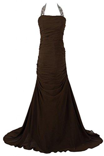 Sunvary una linea formale abiti, con allacciatura al collo, in Chiffon Prom Gowns Chocolate